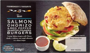 2 Salmon & Chorizo Quarter Pounder Burgers 228g CO