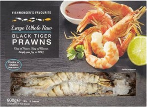 Large Whole Raw Black Tiger Prawns 600g CO